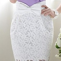 Embroidered lace elegant noble bowknot Short skirts from shoponline4