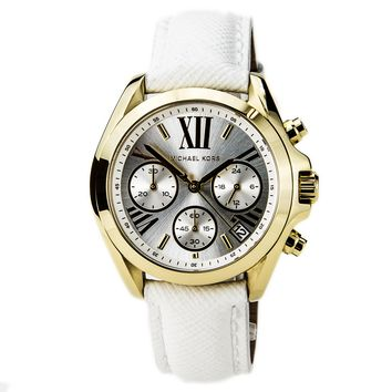 Michael Kors MK2302 Women's Bradshaw Mini Chronograph Silver Dial White Leather Strap Watch