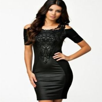 Sexy Women Lace Sleeveless Evening Cocktail Party Clubwear Bandage Bodycon Dress