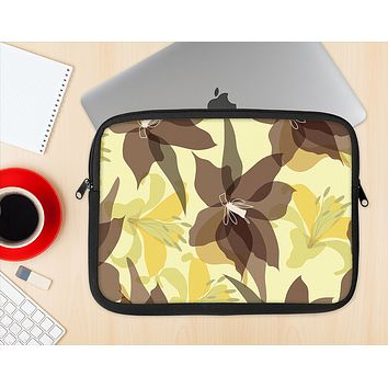The Yellow and Brown Pastel Flowers Ink-Fuzed NeoPrene MacBook Laptop Sleeve