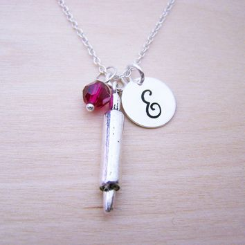 Rolling Pin Charm Necklace -  Swarovski Birthstone Initial Personalized Sterling Silver Necklace / Gift for Her - Chef Necklace