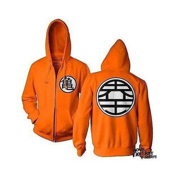 Dragon Ball Z DBZ Kame Symbol Guko Anime Adult Zip Up Hoodie