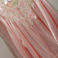 Victoria Secret Pajamas Luxrious Charmeuse Satin Warm Pink Blush Romantic Ruffles Embroidery Pearls and Lace