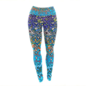 "Li Zamperini ""Turquoise Mandala Art"" Blue Aqua Yoga Leggings"