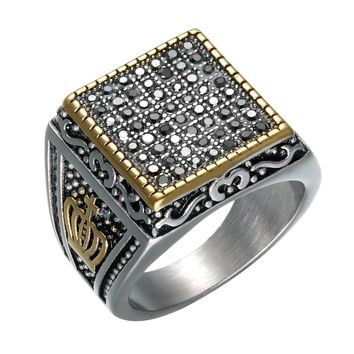Punk Men Club Pinky Crown Pattern Black Crystal Signet Ring Personalized Ornate Stainless Steel Band Gold Tone Male Jewelry