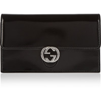 Gucci - Icon glossed-leather continental wallet