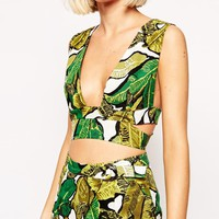 Lavish Alice Crop Top in Banana Leaf Print