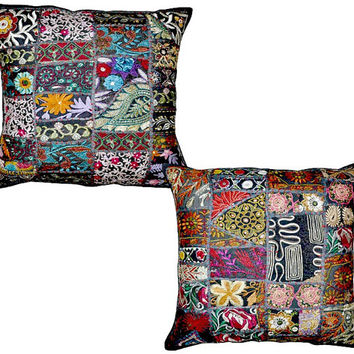 2pc Black Decorative Vintage Throw Pillow, Hand Embroidered Accent Pillow With patchwork, tribal pillow cover, Sofa pillow, Pillow for couch
