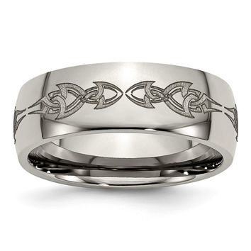 Men's Titanium Polished Wedding Band Ring