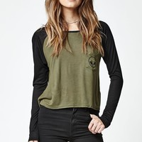 LA Hearts Alien Pocket Raglan T-Shirt - Womens Tee - Olive/Black