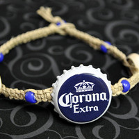 Blue and White Corona Extra Recycled Beer Cap Hemp Anklet - Beach, surfer, unique jewelry