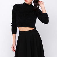 Mink Pink First Base Skivvy Black Cropped Sweater