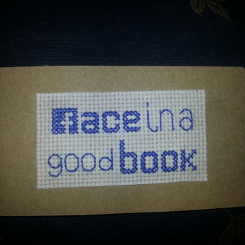 cross stitched bookmark - Face in a good book SALE