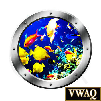 Underwater Fish Porthole Window View Wall Decal Coral Reef Ocean Fish Wall Art VWAQ® PO23