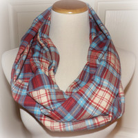 Red Blue Cream Check Lightweight LONG Flannel Infinity Scarf Ready to Ship Scarf Scarves Women's Accessories