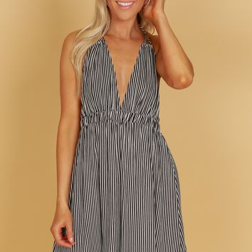 Open Back Striped Tank Dress Black