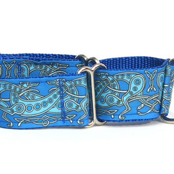 """Whippet Dog Collar - Celtic Knot in Blue- 1.5"""" Martingale Dog Collar (C Blue)"""