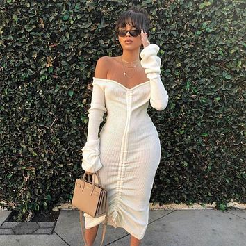 Long Sleeves Off Shoulder Ribbed Knit Bodycon Dress