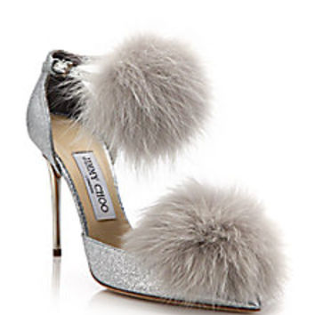 Jimmy Choo - Dolly 100 Fox Fur & Glittered Textile Ankle-Strap Pumps - Saks Fifth Avenue Mobile