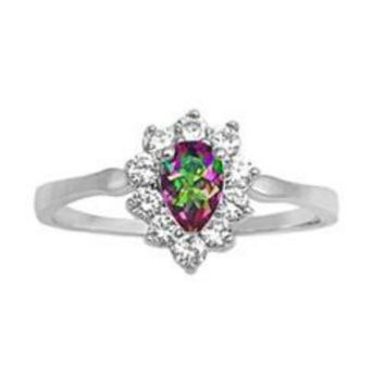 Sterling Silver Halo Rainbow Mystic Topaz CZ Engagement Ring size 5-9