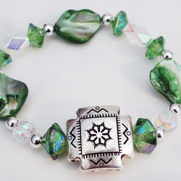 Green and Silver Elastic Beaded Bracelet Handmade by Lindsey - Beach Inspired - Mother of Pearl Shell Beads - Czech Glass Beads  - Boho Chic