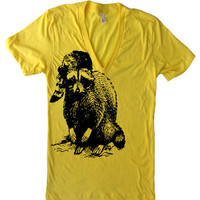 Mens / Womens / Unisex RACCOON Deep V Neck T Shirt - American Apparel - XS S M L XL (15 Color Options)