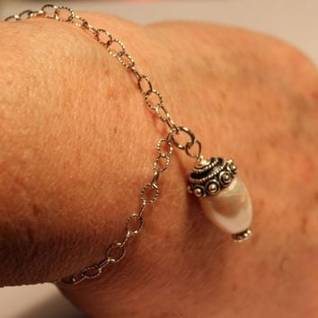 Acorn Solid Sterling Silver and Freshwater Pearl Bracelet, Peter Pan and Wendy Hidden Kisses