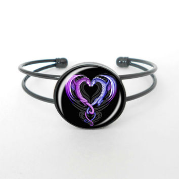 Dragon Heart Cuff Bracelet, Bangle, Open Cuff Bracelet, Mythical Jewelry