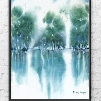Turquoise Art, Watercolor Painting Print, NancyKnightArt.etsy.com, Turquoise Wall Decor Landscape Painting, Green Wall Art,11x14 Print,8x10+