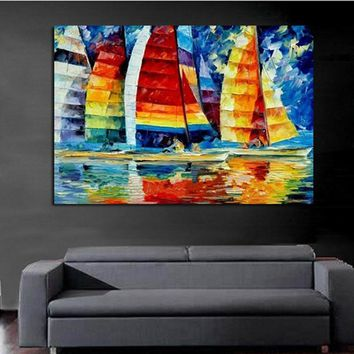 Knife Color Sailboat Pictures Handpainted Abstract Landscape Oil Paintings Large Painting on Canvas Modern Home Decor Wall Art