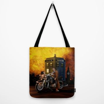 10th Doctor who with Big Motorcycle Tote Bag by Three Second