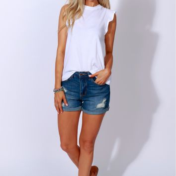 Everyone's Attention Distressed Shorts Denim