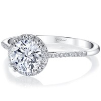Coast Round Halo Thin Shank Diamond Engagement Ring