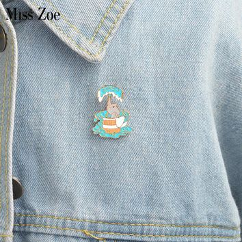Trendy Little elephant bathing Brooch Cartoon enamel pin Button Pins Denim Jacket Pin Badge Fashion Animal Jewelry Gift for Kids AT_94_13