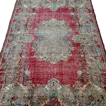 ON SALE Red Field White Medallion Turkish Vintage Rug With French Design 9'11'' x 6'3''  Free Shipping