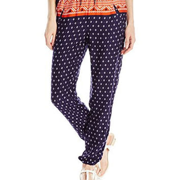 Roxy Junior's Sunday Noon Printed Harem Pant, Gypsy Border Placement For Sun, Large