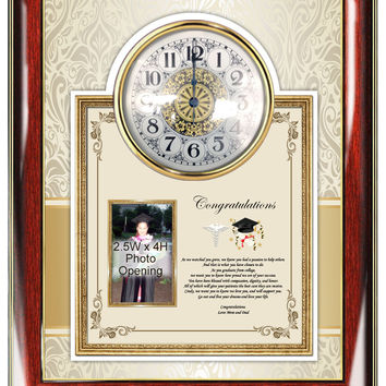 Clock Medical School Graduation Picture Frame Gift