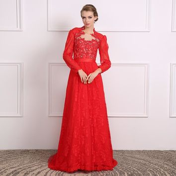 Red Scoop Neck Long Sleeves Lace Long Evening Dresses Appliques A Line Floor Length Evening Dress