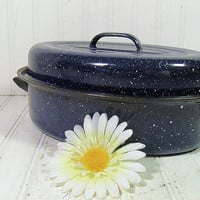Vintage Blue Graniteware Small Roasting Pan - Retro Navy Enamelware Lidded Oval Pot - 2 Piece Spatterware KitchenWare