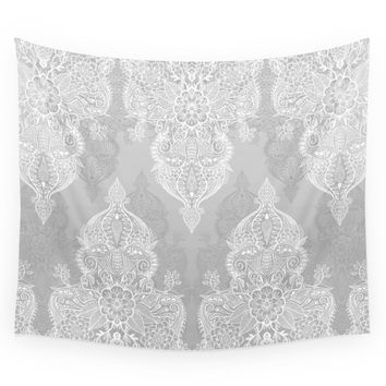 Society6 Lace & Shadows 2 - Monochrome Moroccan Doodle Wall Tapestry