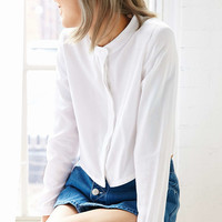 White Pepper Round Collar Cropped Shirt - Urban Outfitters
