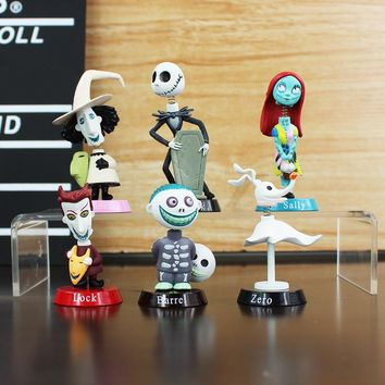 6Pcs/set Nightmare Before Christmas action figure toys 5-7cm Jack Skellington Sally Collection Toy PVC Dolls