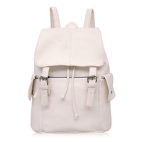 Faux Leather Double Buckle Flap Backpack