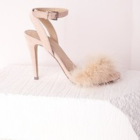 Missguided - Feather Strappy Heeled Sandals Nude