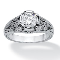 1.75 TCW Round Cubic Zirconia Vintage Style Ring in Sterling Silver