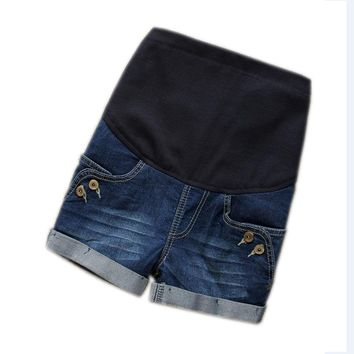 Maternity Clothes Fashion Summer Denim Maternity Elastic Waist Pregnant Shorts Jeans for Pregnancy Fashion Belly Shorts