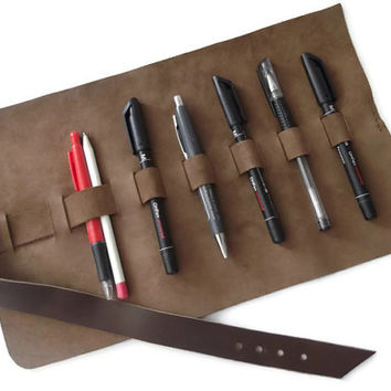 Leather Pencil Case- Leather Pen Case- Brown - Leather Travel Case- Roll Up Leather Pencil Case