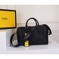 FENDI WOMEN'S LEATHER BOSTONHANDBAG INCLINED SHOULDER BAG