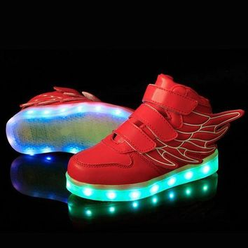 LMFIW1 25-37 Size/ USB Charging Basket Led Children Shoes With Light Up Kids Casual Boys&Girl