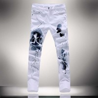 Men's Fashion Unique Lighting Jeans